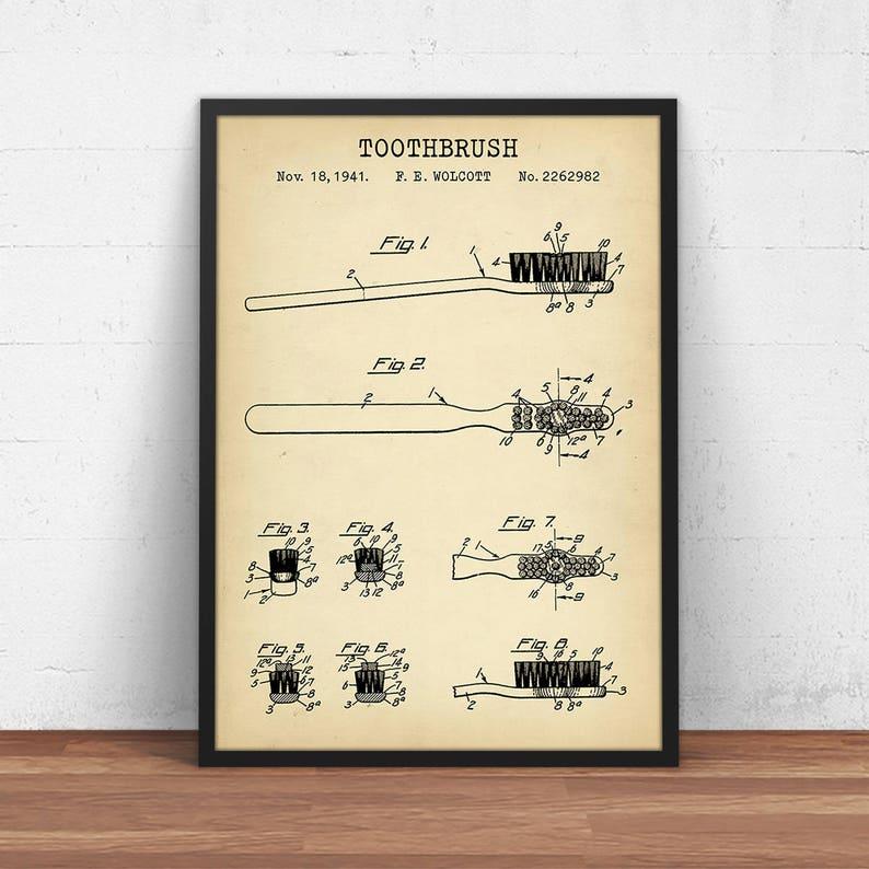 Bathroom Decor Toothbrush Patent Print Digital Download Etsy