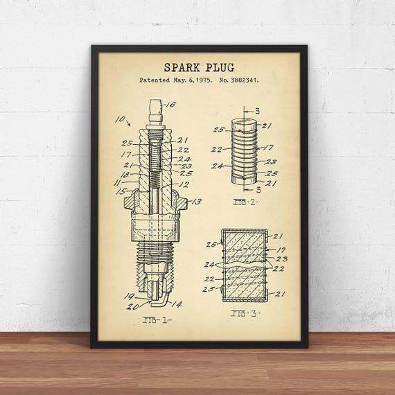 Spark plug art car patent prints digital download blueprint malvernweather Image collections