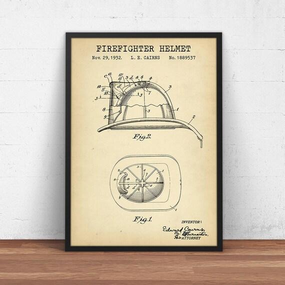 Cairns Fireman Helmet Patent Print Old Look