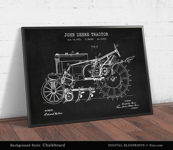 McCormick Tractor Poster Farmhouse Decor 1939 John Deere Tractor Patent Print