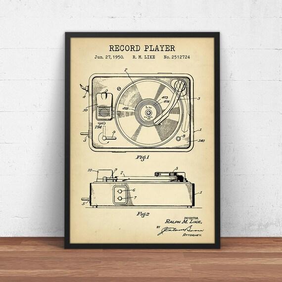 DJ Set of 3 Patent Prints Blueprint Vinyl LP Turntable Decor Vintage Art Gift