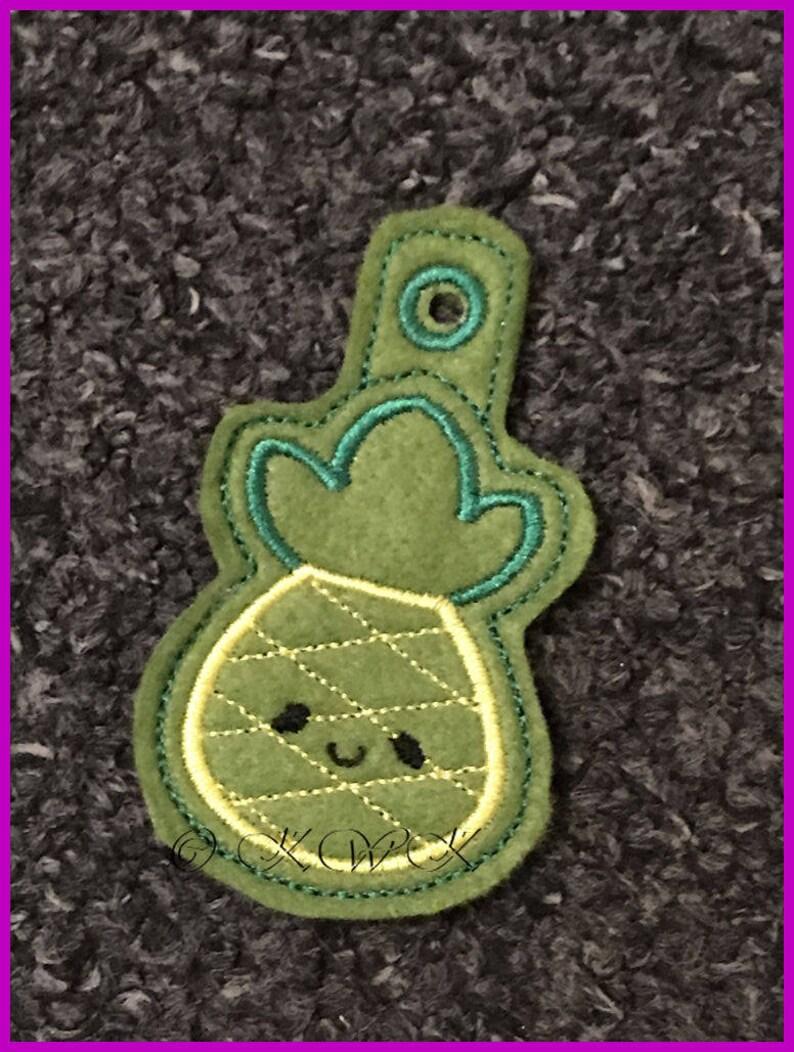 Zipper,Taggie 4x4 hoop luggage tag ITH Kawaii Pineapple  Zipper pull design machine embroidery design Bag Tag