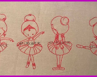 Beautiful Red work Dance Ballerina, Ballet Red work Machine Embroidery Design, 4 different designs for the 4x4 and 5x7 hoop