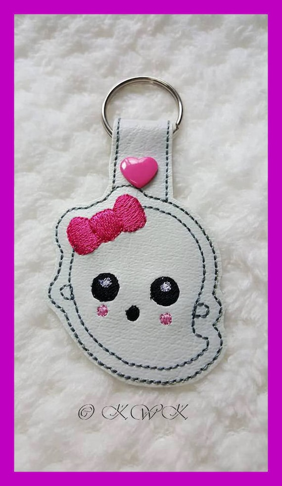 ITH Girl Ghost key ring snap tab keyring Halloween machine  17118bd15f