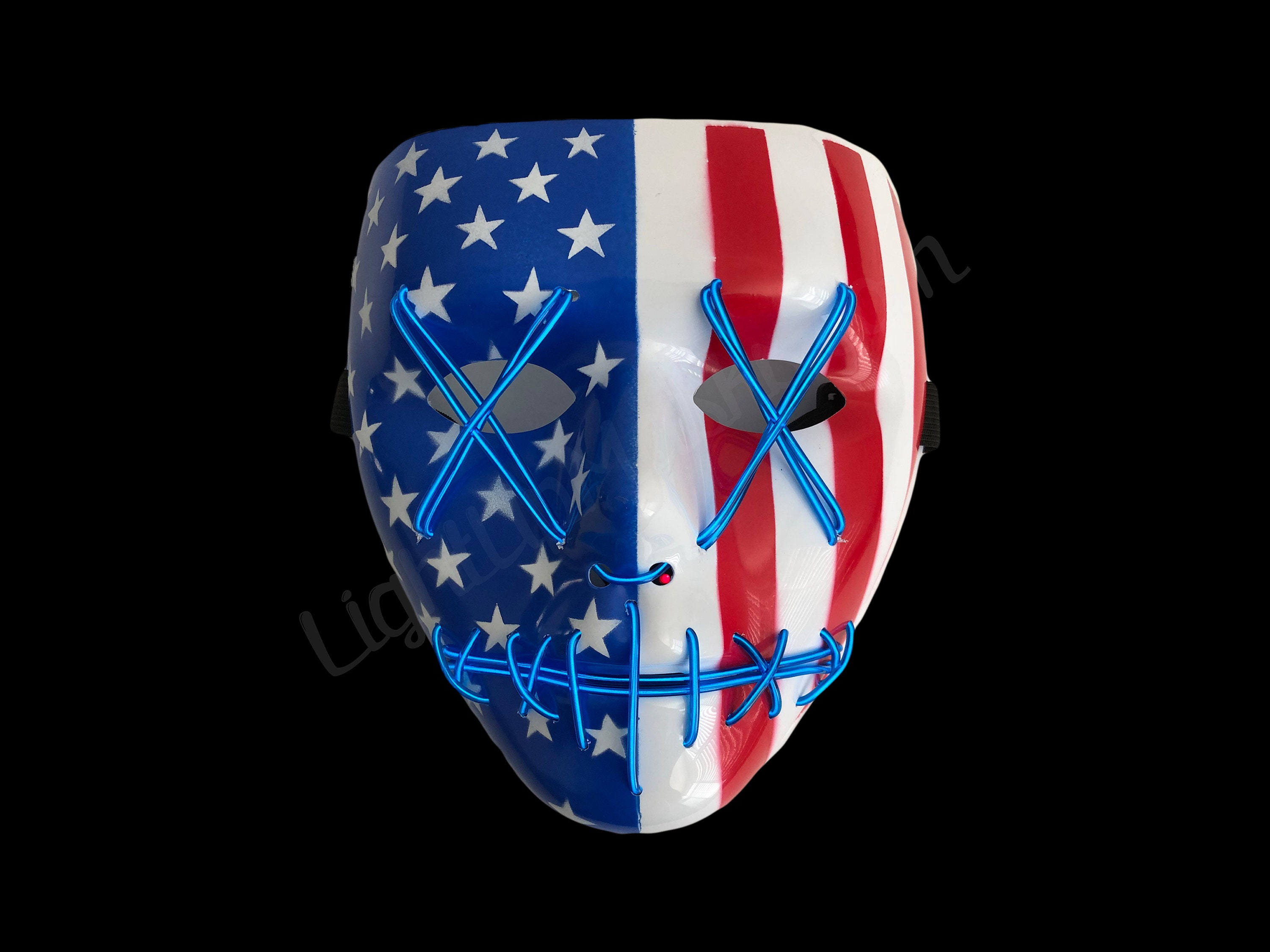 Light Up Mask Stitched American Flag 4th Of July Edition Edm Etsy