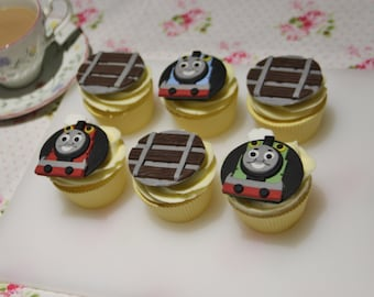 Thomas and Friends Train Fondant Edible Cupcake Toppers. Birthday party, birthday cake