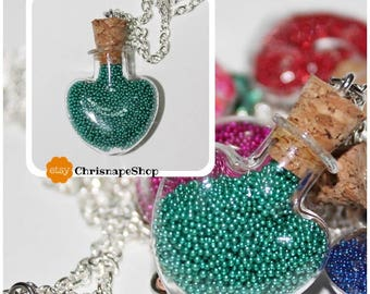 Lucky Necklace in Glass ' heart ' (5 different pieces)