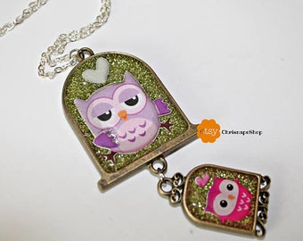 Double UV resin ' owls ' necklace in 2d