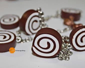 Bracciale in Fimo 'Rotella di cioccolato'