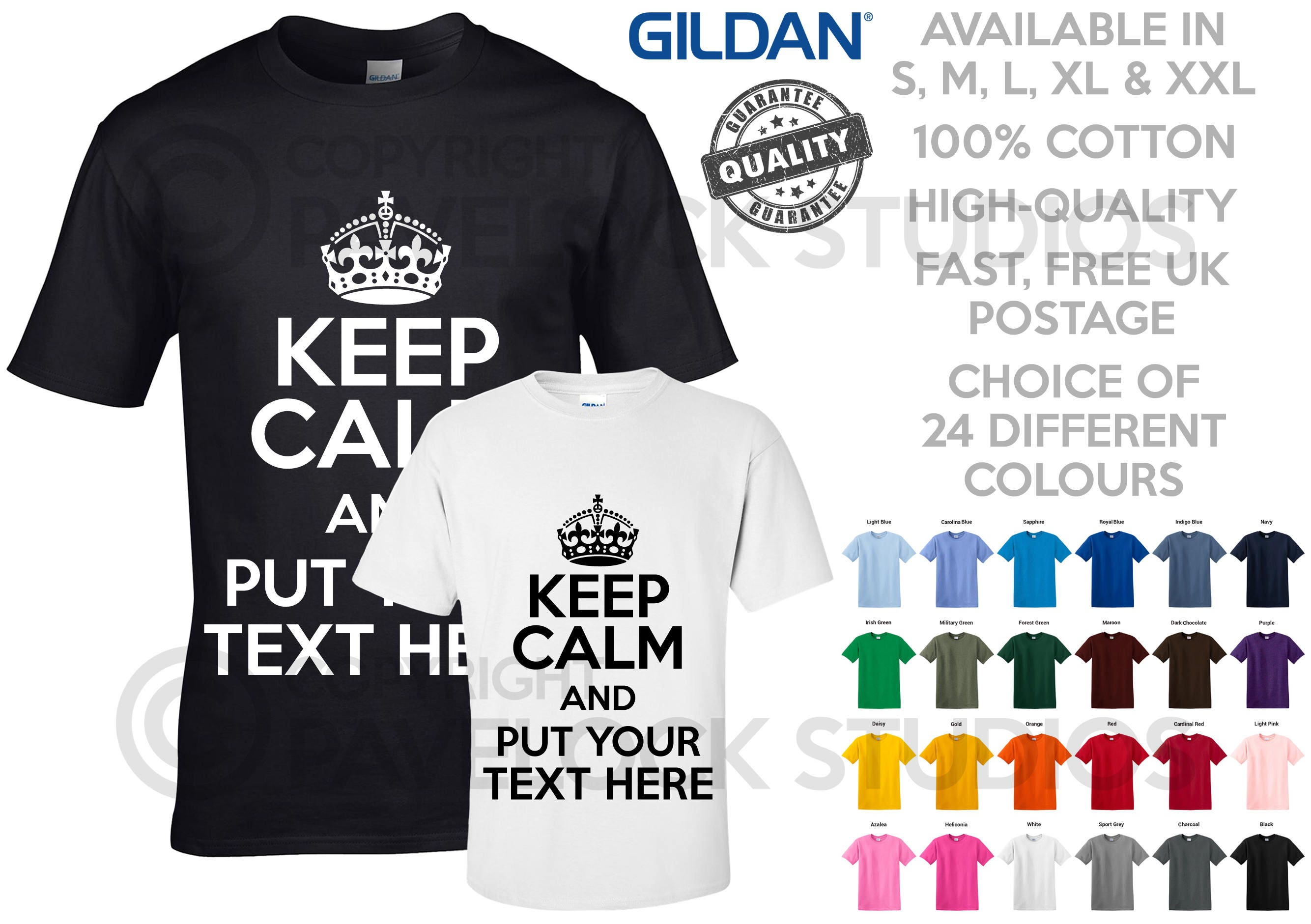 Personalised Keep Calm T Shirt Custom Design Your Own Printed Etsy