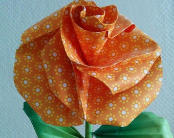 Orange rose fancy real origami