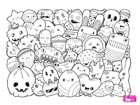 Doodle Monster Ausmalbilder | Etsy