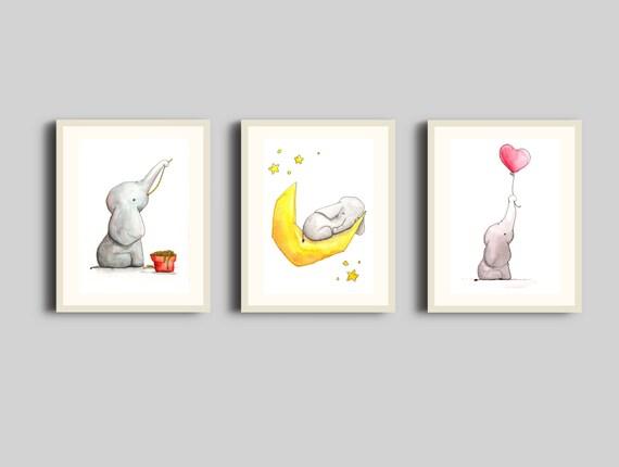 3 Aquarell Printables fürs Babyzimmer Elefant   Etsy