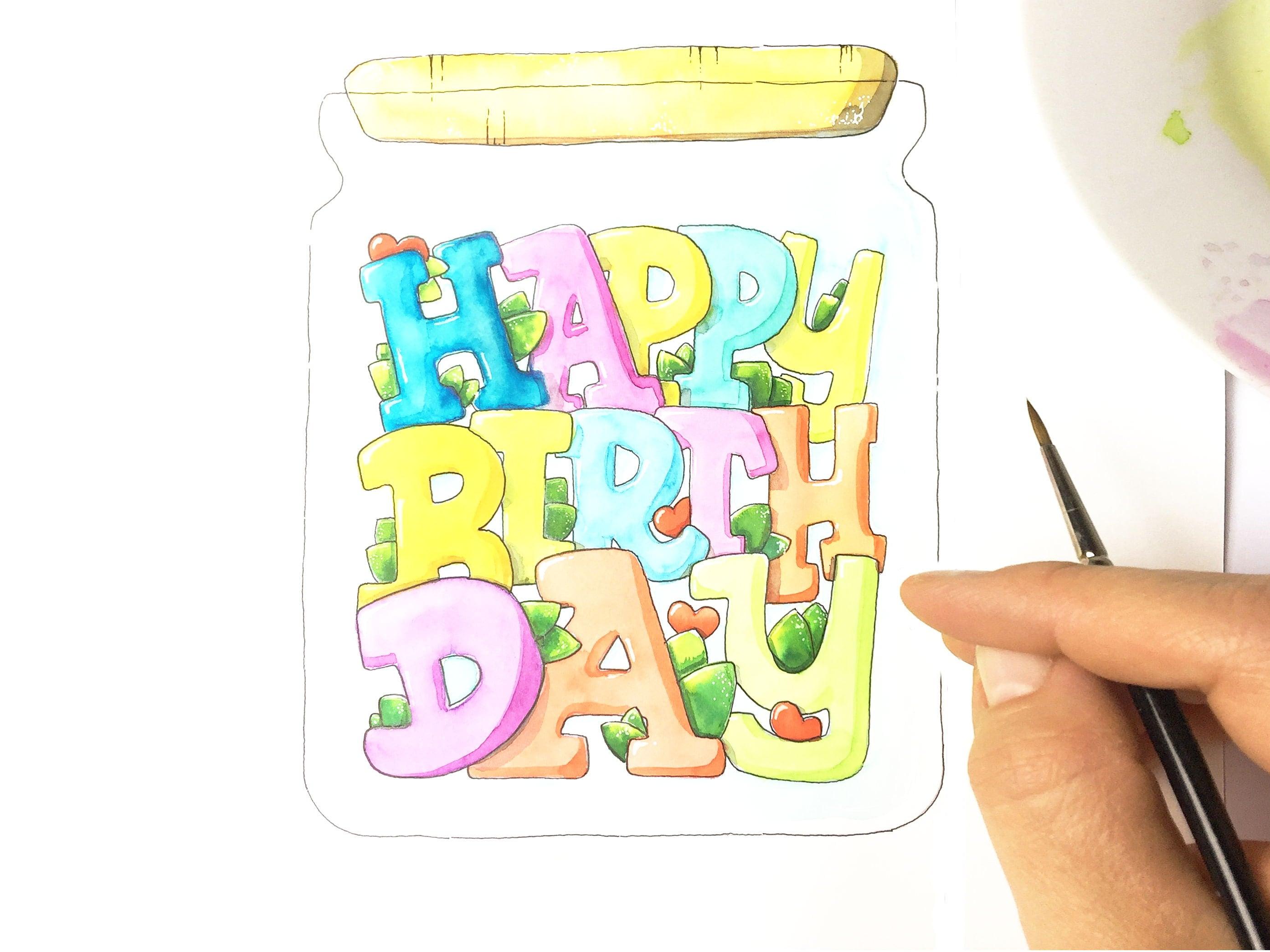 Ausmalbild Happy Birthday im Einmachglas | Etsy