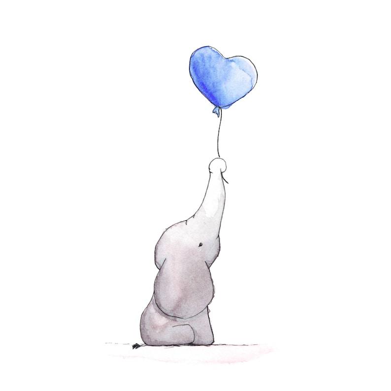 aquarell illustration zum ausdrucken der kleine elefant  etsy