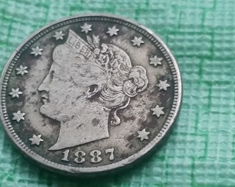 1887 Liberty head nickel,  full liberty  #M1100 old US coin