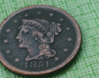 1851 Braided Hair  large cent US coin