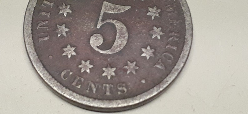#D2197 old US coin 1873 US  Shield nickel,