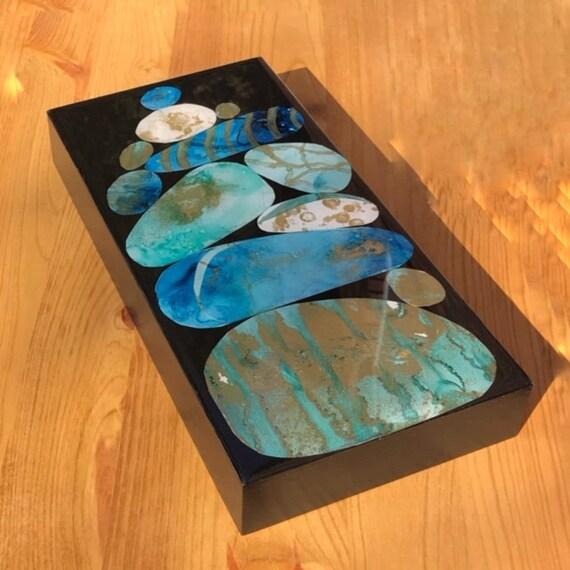 Stacked Rocks Art Bluegold And Black Zen Rocks Etsy
