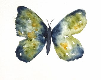 Butterfly watercolor painting, Multi-colored butterfly wall art ,  blue and green butterfly wall art,  wall art for child's room