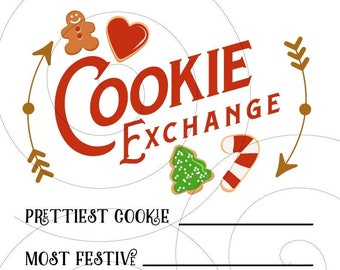 DIGITAL DOWNLOAD - Printable Cookie Exchange Ballot | Cookie Swap Party | Cookie Exchange Voting Ballot