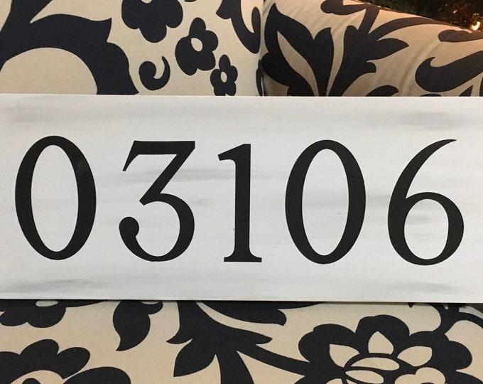 "Custom Zip Code Wood Sign   Housewarming Gift   White and Grey Decor   3.5"" x 11""   Realtor Gift"