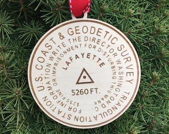 Mt. Lafayette Bench Mark Ornament   NH Hiker Gift Idea   New Hampshire Mountains   Mountain Summit Marker   Hiking Souvenir