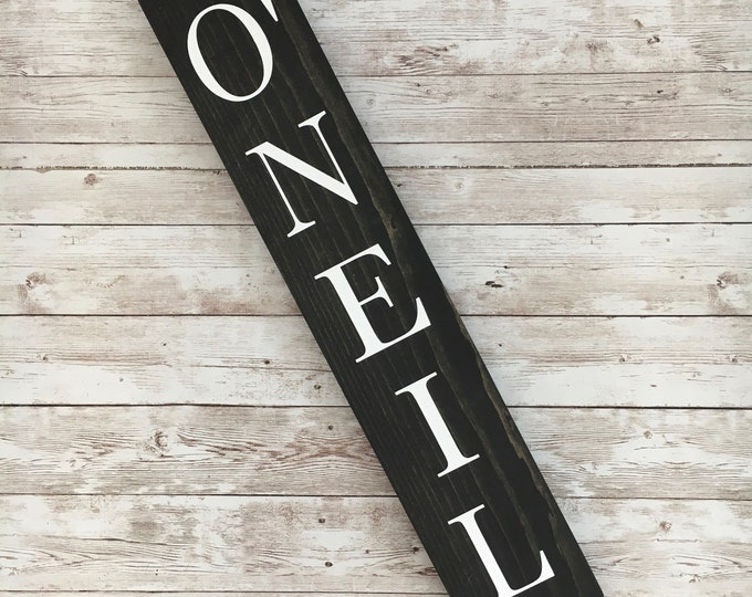 O'Neil Family Name Sign    Last Name or Town Name Sign   Custom gallery wall sign   Housewarming Gift Idea   Thin Vertical Sign
