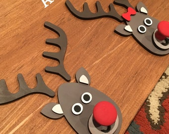 Personalized Christmas Stocking Wall Hanging Holder with Reindeer Faces | Family Stocking Holder | Reindeer Stocking Holder