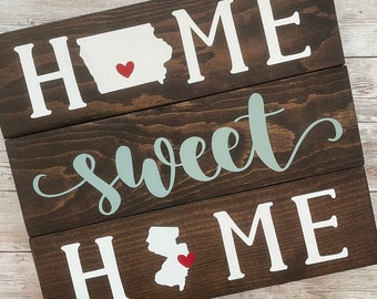 Iowa to New Jersey State Sign | Two State Home Sign | New Home Gift idea | Housewarming Gift Idea | 2 State Sign | Moving away gift