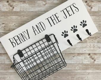 Dog Leash Hook and Basket Sign Combo | Custom Dog Name sign with attached basket and leash hooks | Pet Leash and Snack Holder