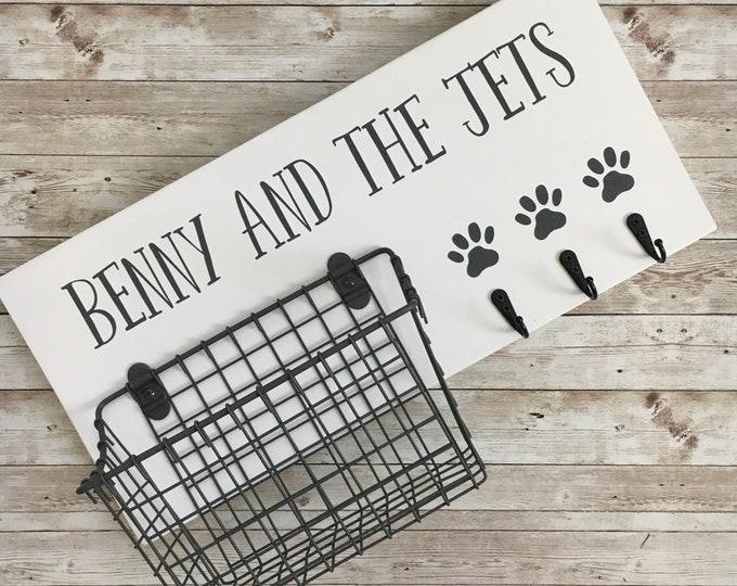 Dog Leash Hook and Basket Sign Combo   Custom Dog Name sign with attached basket and leash hooks   Pet Leash and Snack Holder