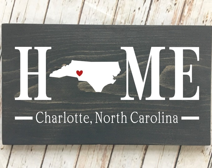 North Carolina (NC) Home wood sign customized with town name | 2 sizes available | North Carolina Housewarming Gift | NC State Gift