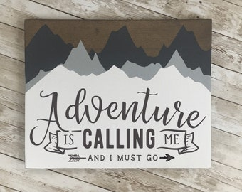 """Adventure is Calling wood sign   11 x 14 or 18""""/24"""" Circle   Vacation Home Decor   Ski Lodge Decor"""