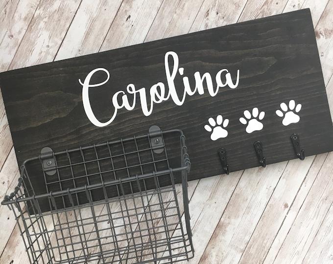 Entry Way Dog Leash Hook and Basket Sign Combo   Custom Dog Name sign with basket and leash hooks   Front Door Pet Organizer   Pet Mom Gift
