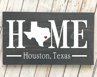 Texas (TX) Home State wood sign | 2 sizes available | Customized with Texas town name | Texas Decor | Texas Housewarming Gift