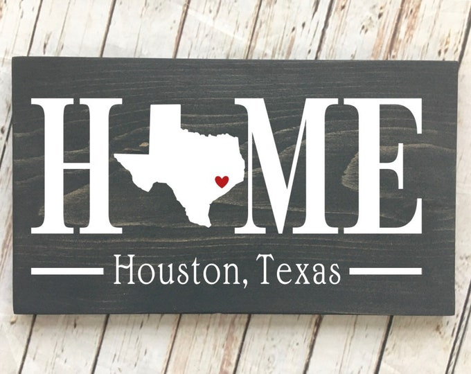 Texas (TX) Home State wood sign | 2 sizes available | Customized with Texas town name | Texas Decor