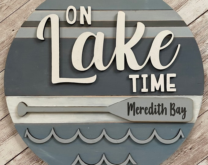 """Meredith Bay New Hampshire On Lake Time 3D Wood Sign 
