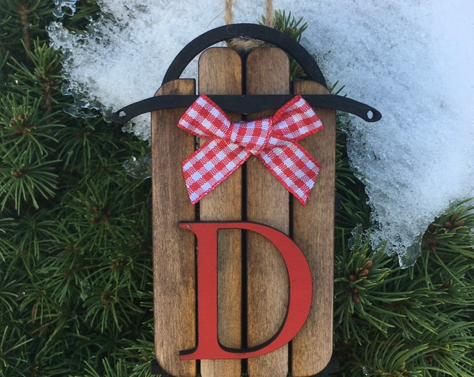 Wood Sled Ornament | Monogram Ornament | Sled with Bow Ornament With Last Name Initial