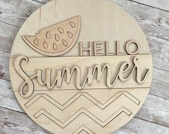 DIY Hello Summer Paint Your Own Sign Kit | Watermelon Summer Sign | DIY Summer project idea | Gift for mom