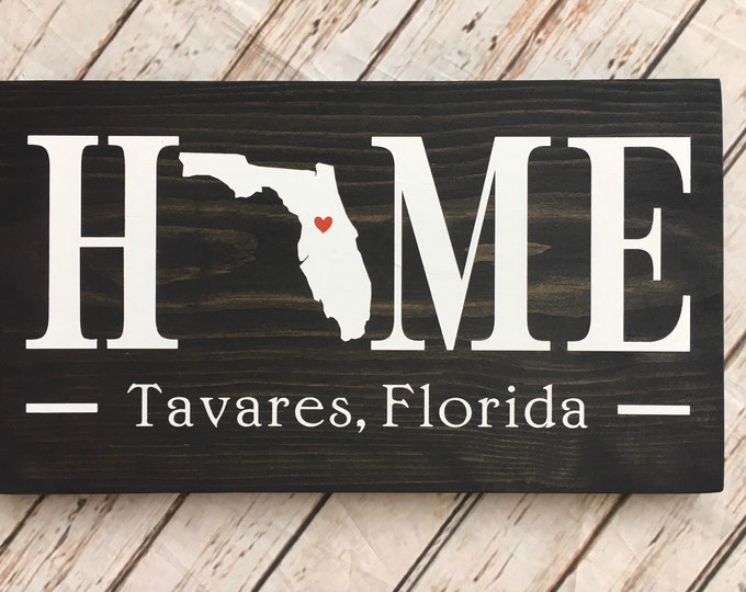 Florida (FL) State HOME sign - 2 sizes available - Customized with town name