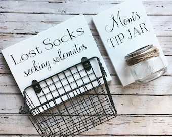 Laundry Room Sign Combo | Mom's Tip Jar AND Lost Socks - Seeking Solemates (or Soulmates) | wood sign with attached glass jar coin holder