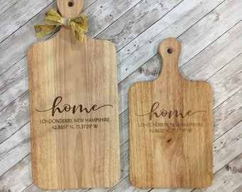 HOME Cutting Board   Custom Town name with Coordinates    Housewarming Gift   Charcuterie Cutting Board   2 sizes Available