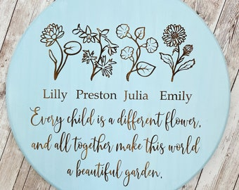 Every child is a different flower, and all together make this world a beautiful garden sign | Birth Flower Sign |  Mothers Day Gift Idea