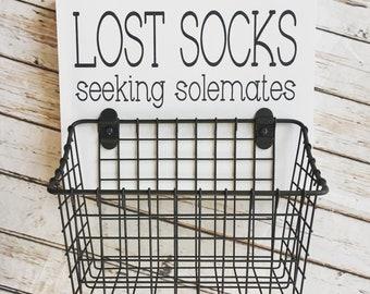 Lost Socks Seeking Solemates Basket   Color Pop Series   Laundry Room Decor & Organization   Multi Color Options