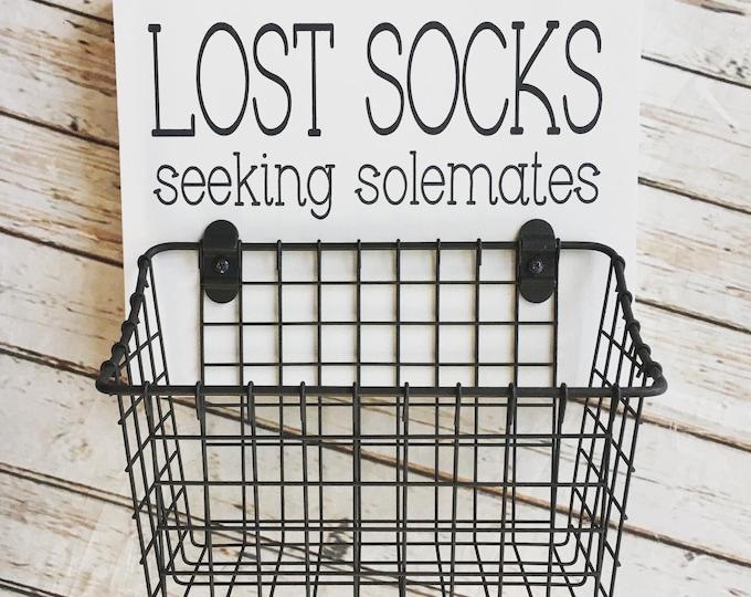 Lost Socks Seeking Solemates Basket | Color Pop Series | Laundry Room Decor & Organization | Multi Color Options