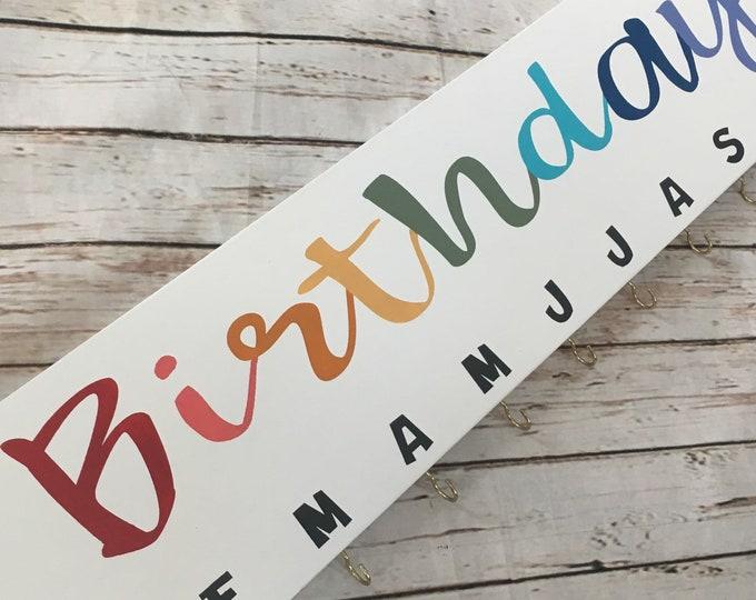 Birthday Celebration Board with hooks | Birthday Tracker | Family Birthday Sign | Birthday Name Sign