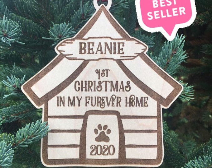 Dog First Christmas in Furever Home Christmas Ornament | Furever Family | Puppy Gift | New Puppy Gift | 2021 Christmas Ornament