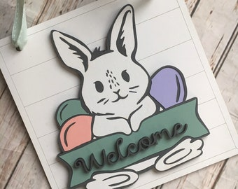 Easter Bunny Welcome Door Hanger   Easter Bunny Decor   Spring Welcome Sign   Pastel Decor   Cute Easter Decoration