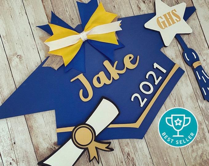 Custom Grad Cap Door Hanger | Senior 2021 Grad Decor | High School Graduation Door Sign | Graduation Party Decor